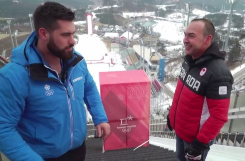 SJC President Tom Reid in Pyeongchang recruiting Laurent Duvernay-Tardif